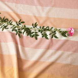 Pruhy Kuba oranž-růžová-bílá, š. 150 cm, len